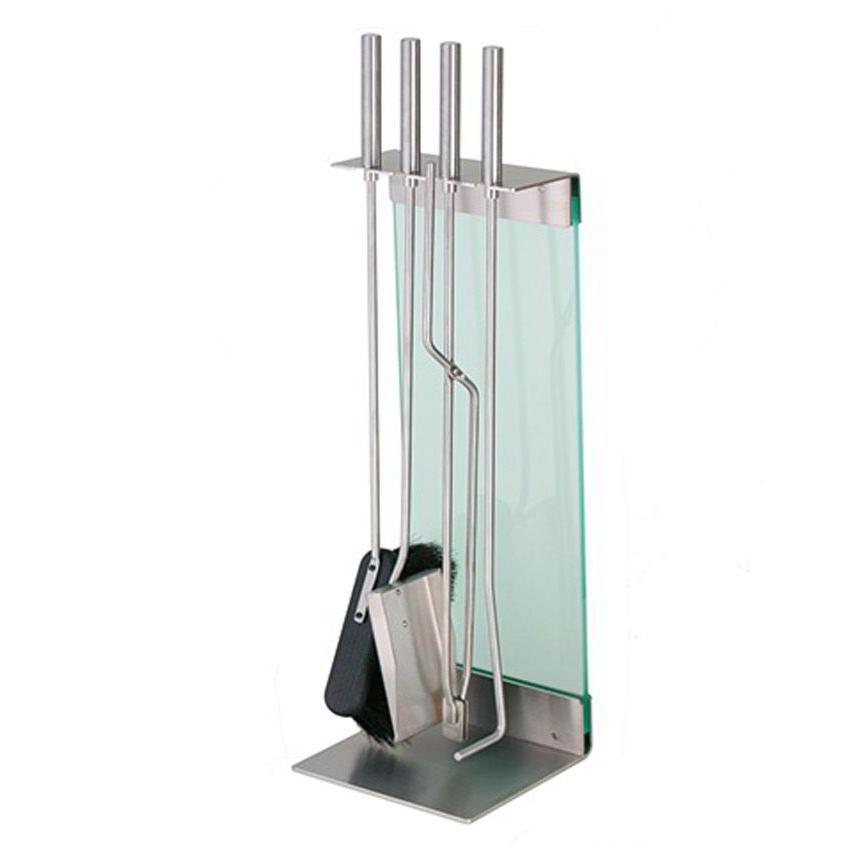 TERAS Kaminbesteck silber mit Glas satiniert