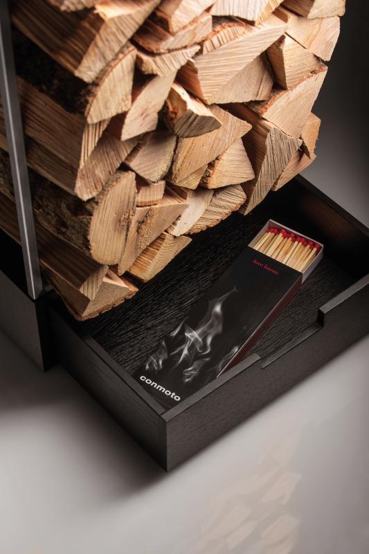 MARGO Brennholz Regal mit Schublade für Accessoires
