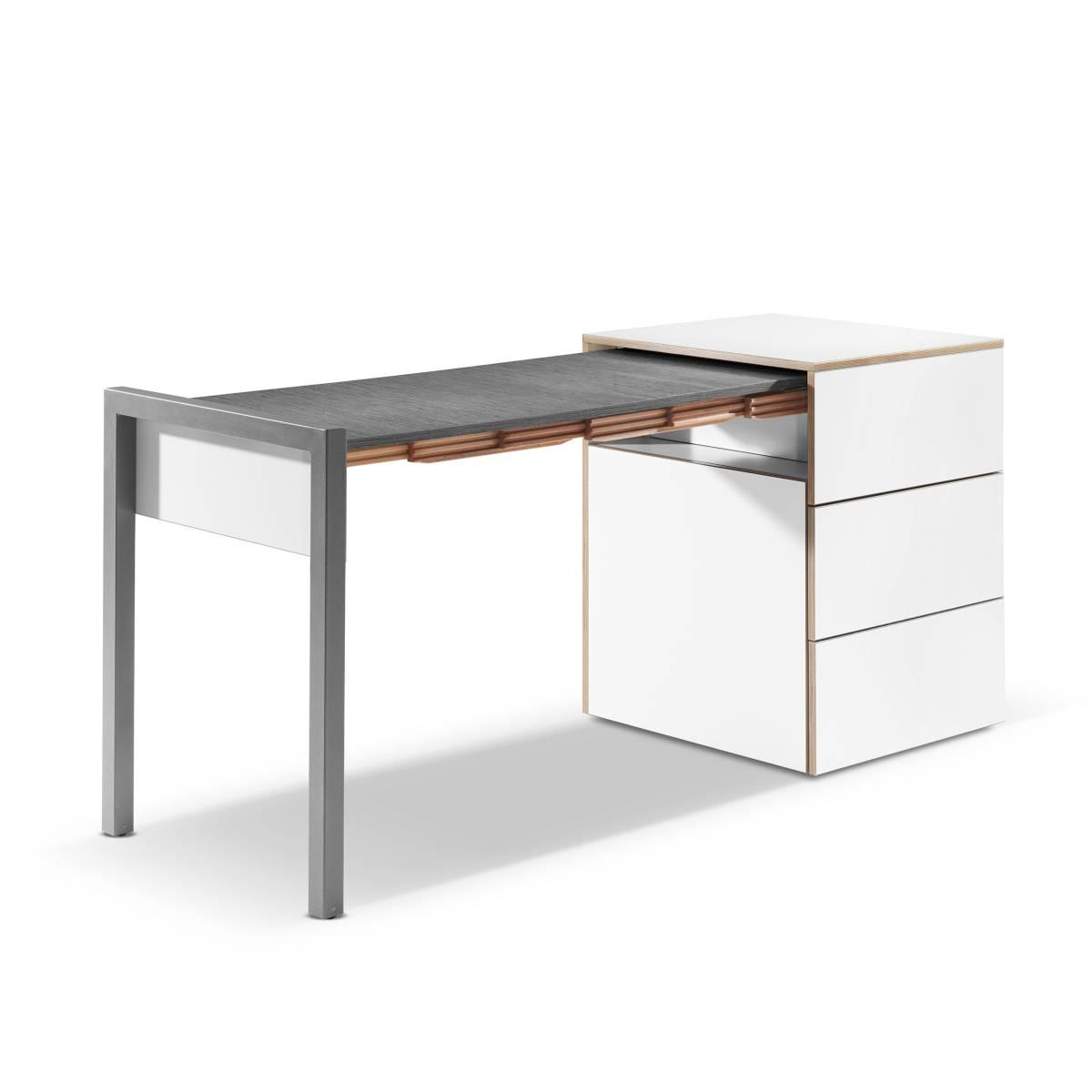 ALWIN Space Box ausziehbarer Tisch, Säule weiß, Tischplatte Orfeo dunkel, nach links