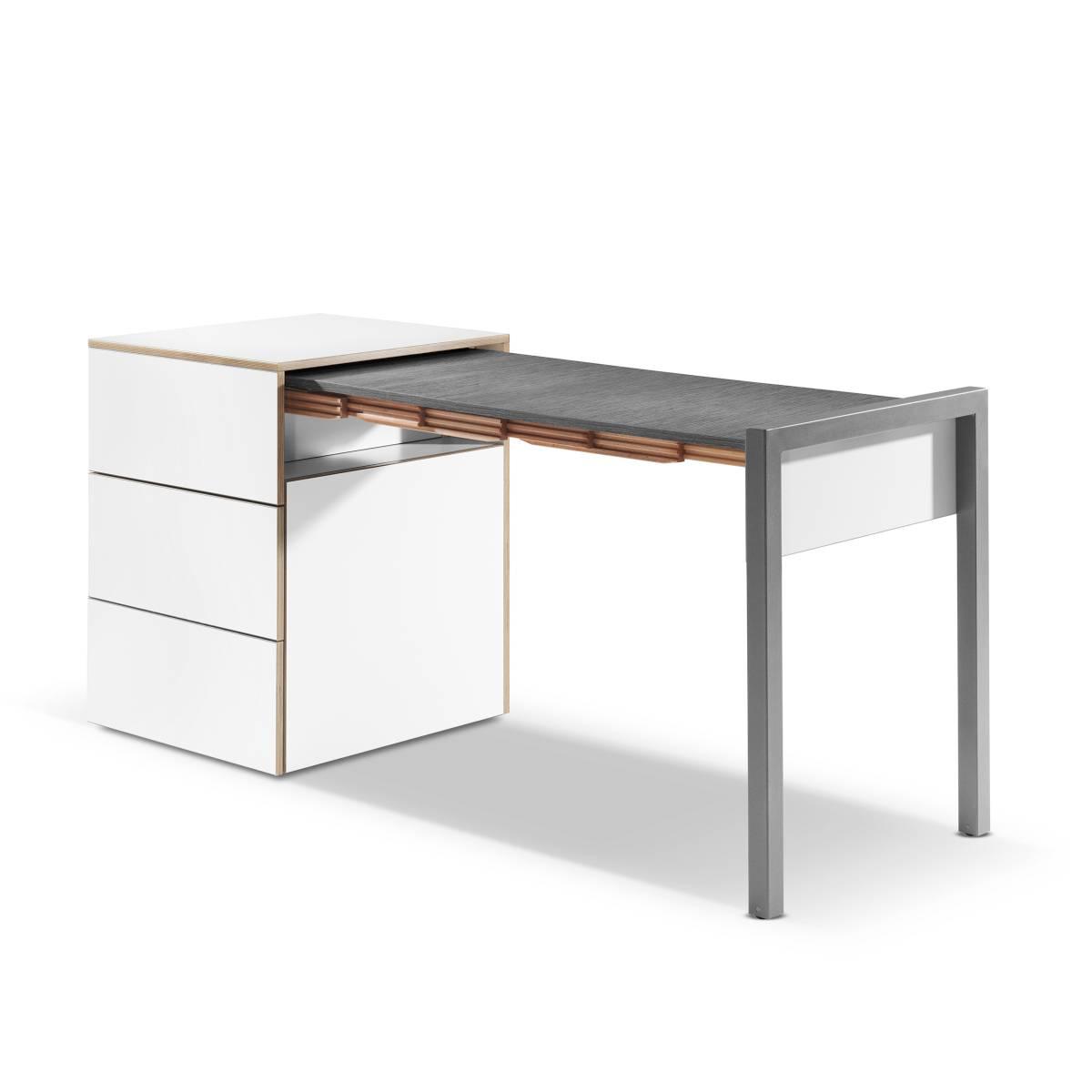 ALWIN Space Box ausziehbarer Tisch, Säule weiß, Tischplatte Orfeo dunkel, nach rechts