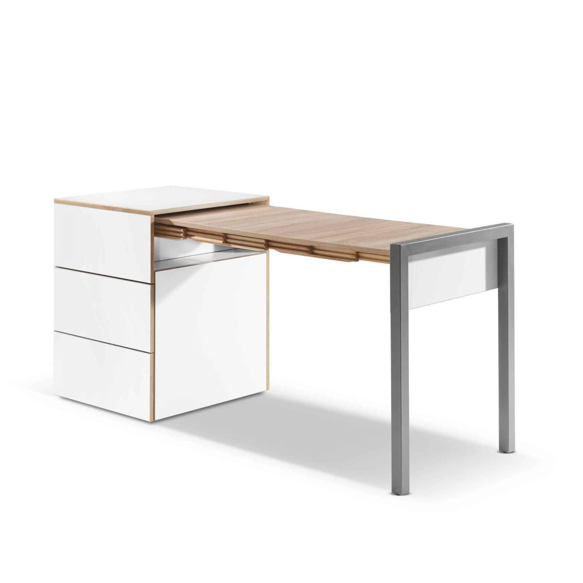 ALWIN Space Box ausziehbarer Tisch, Säule weiß, Tischplatte Eiche vintage, nach rechts