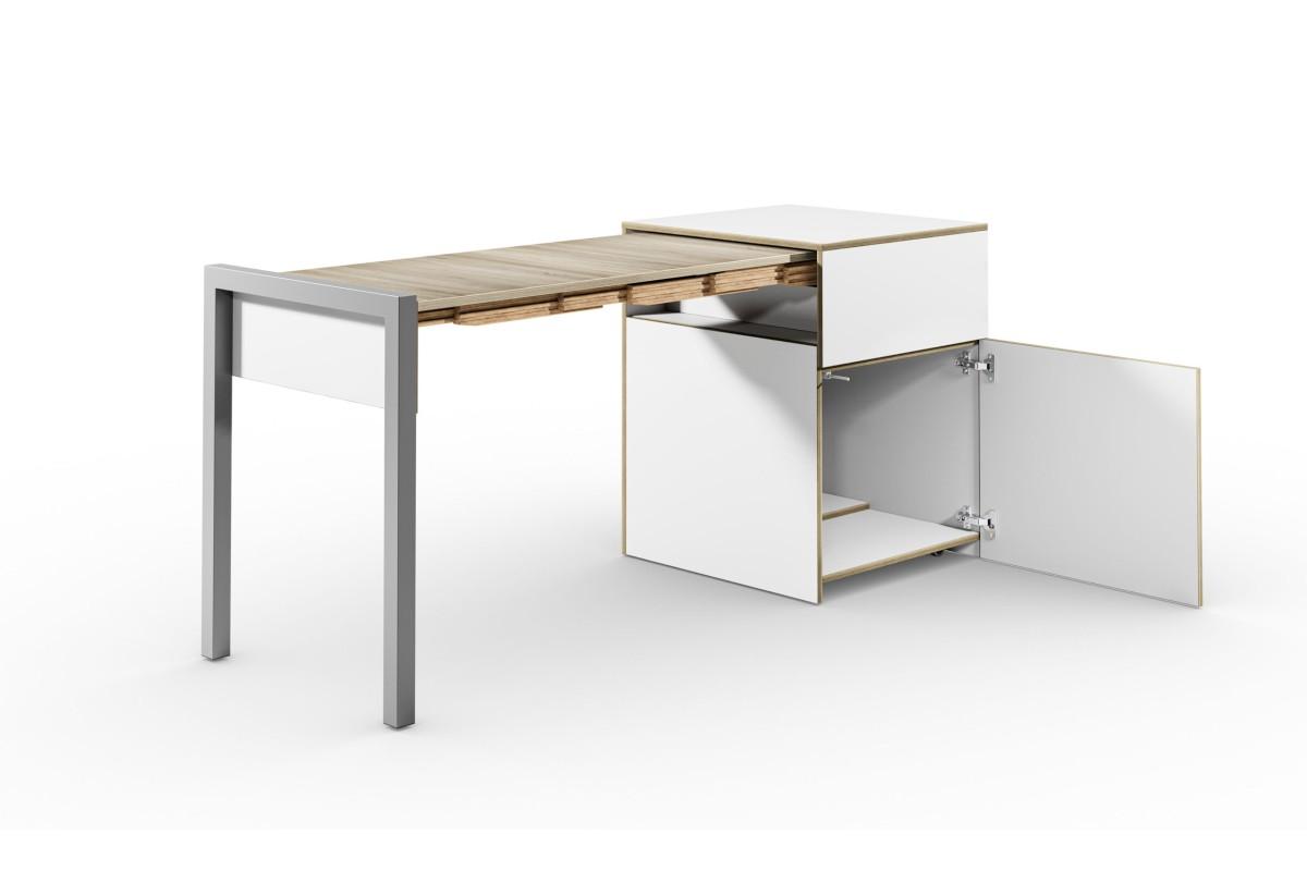 ALWIN ausziehbarer Tisch mit Tür, weiß, Platte Eiche vintage, nach links