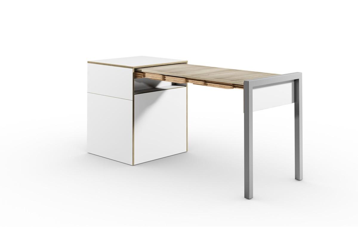 ALWIN ausziehbarer Tisch mit Tür, weiß, Platte Eiche vintage, nach rechts