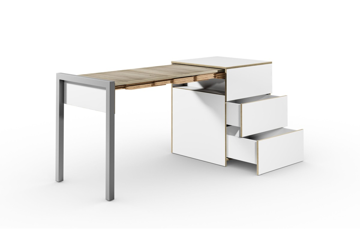 ALWIN ausziehbarer Tisch mit Schubladen, weiß, Platte Eiche vintage, nach links