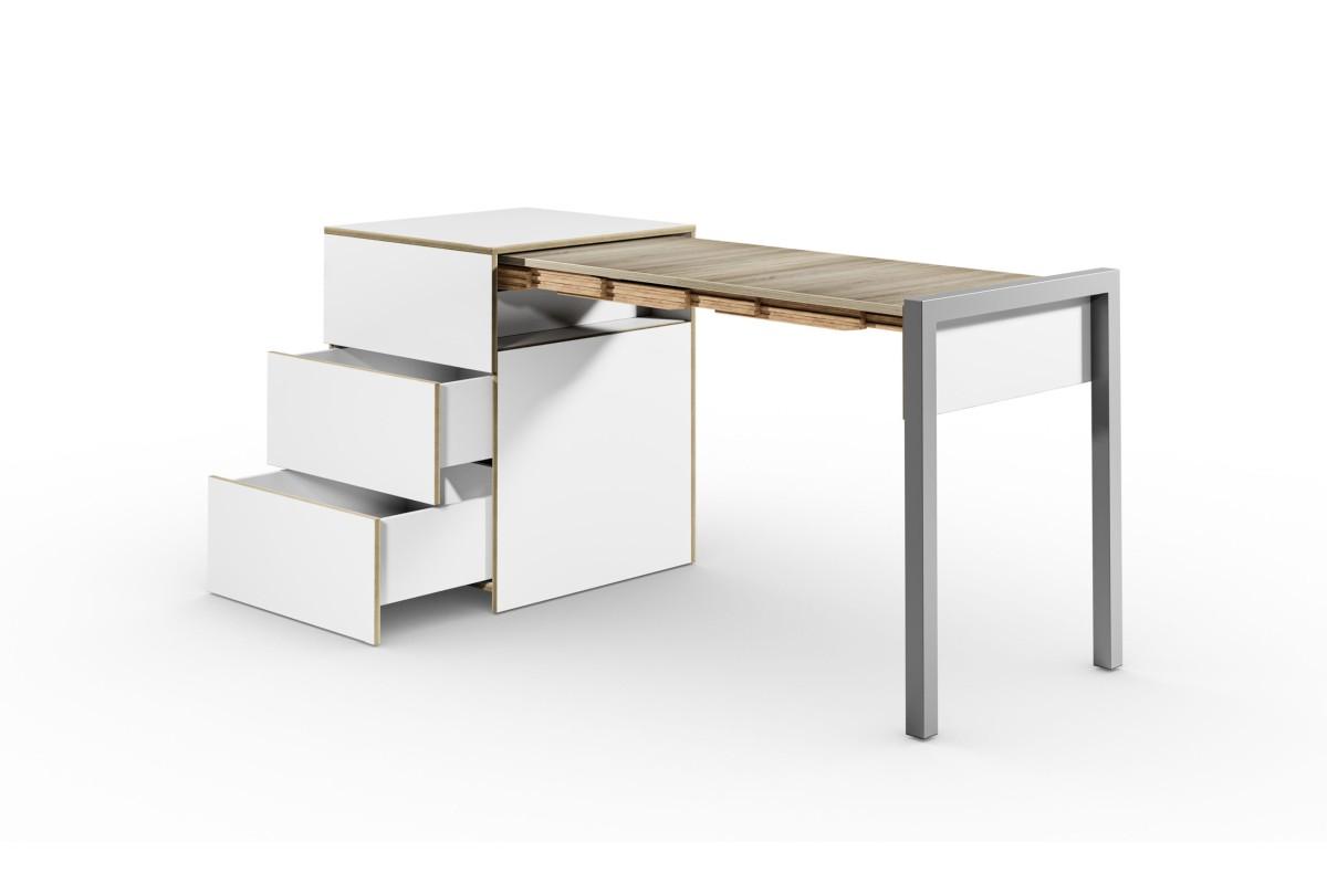 ALWIN ausziehbarer Tisch mit Schubladen, weiß, Platte Eiche vintage, nach rechts