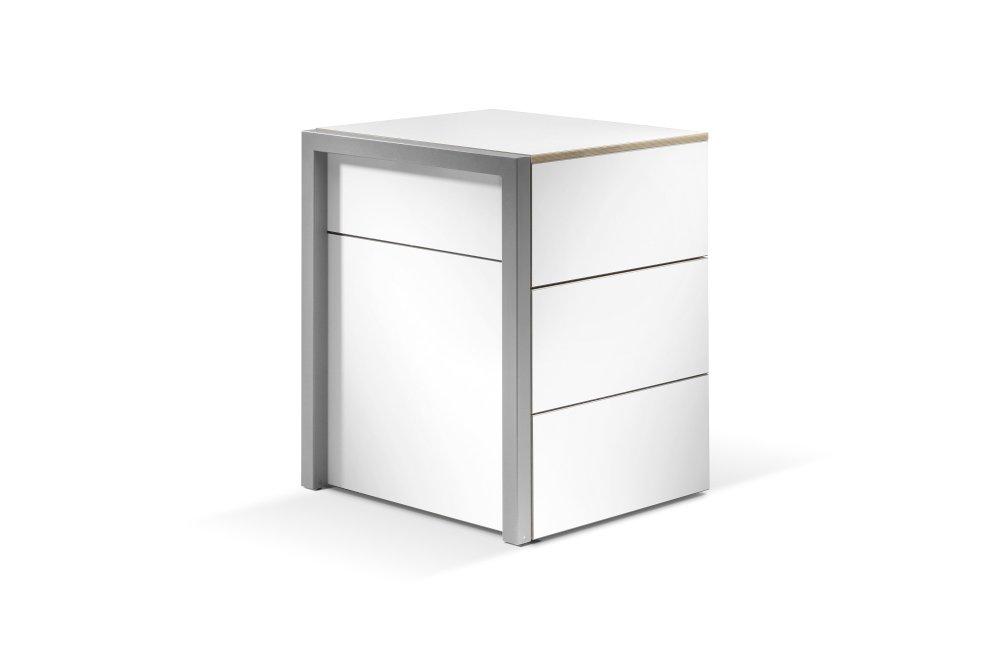 ALWIN Space Box ausziehbarer Tisch, Korpus weiß, im geschlossenen Zustand