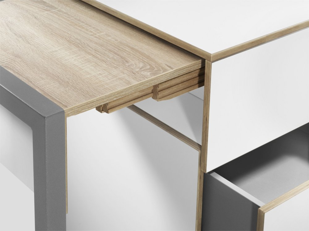 ALWIN Space Box ausziehbarer Tisch, Detail der Tischplatte
