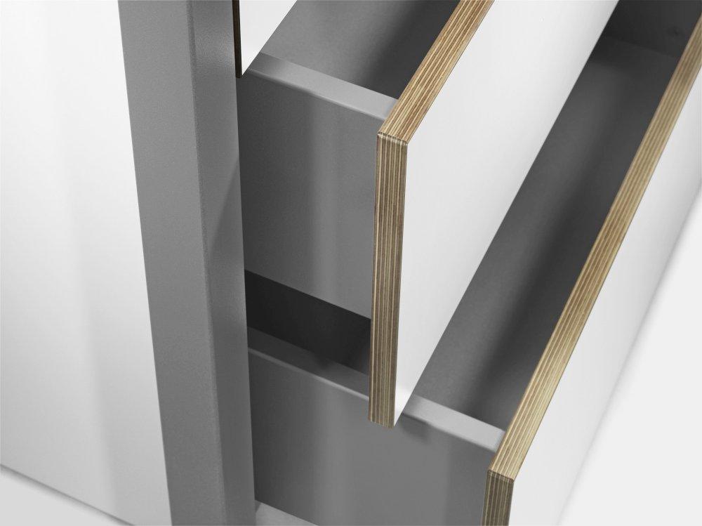 ALWIN Space Box ausziehbarer Tisch, Detail der beiden Schubladen