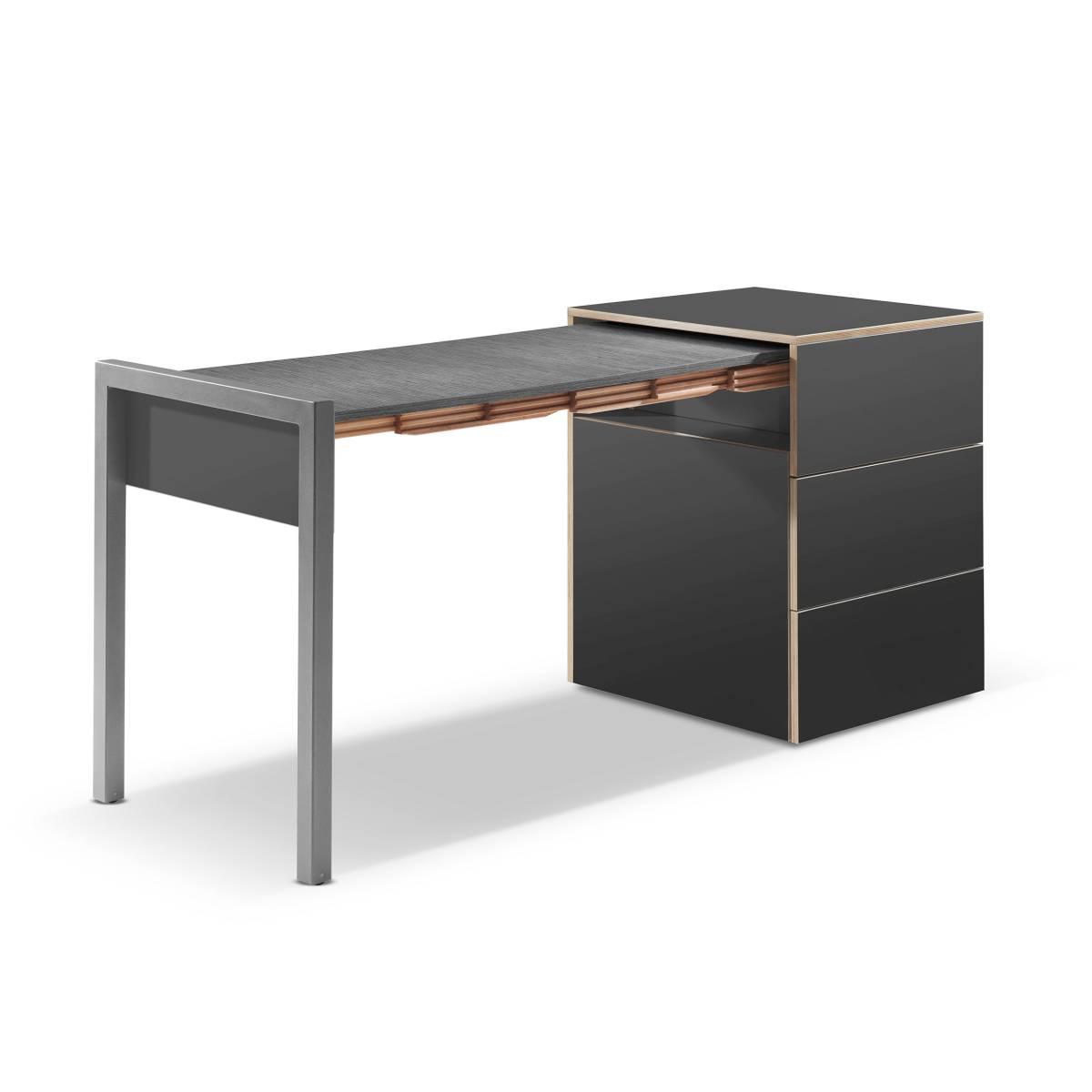 ALWIN ausziehbarer Tisch anthrazit, Platte Orfeo dunkel, Tisch nach links