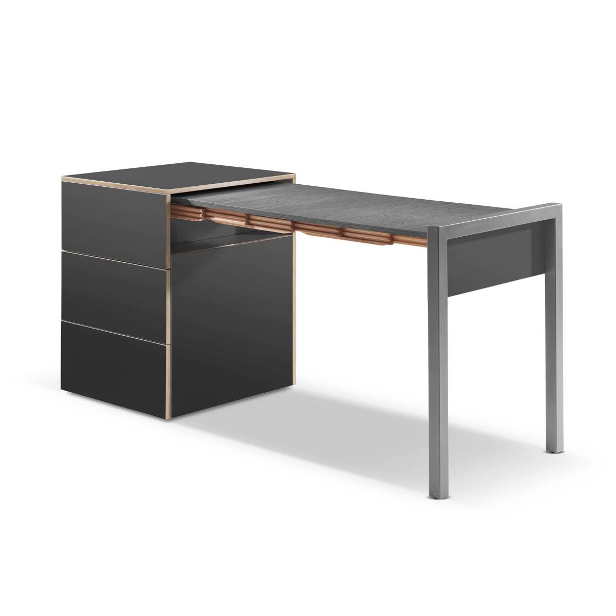 ALWIN ausziehbarer Tisch anthrazit, Platte Orfeo dunkel, Tisch nach rechts
