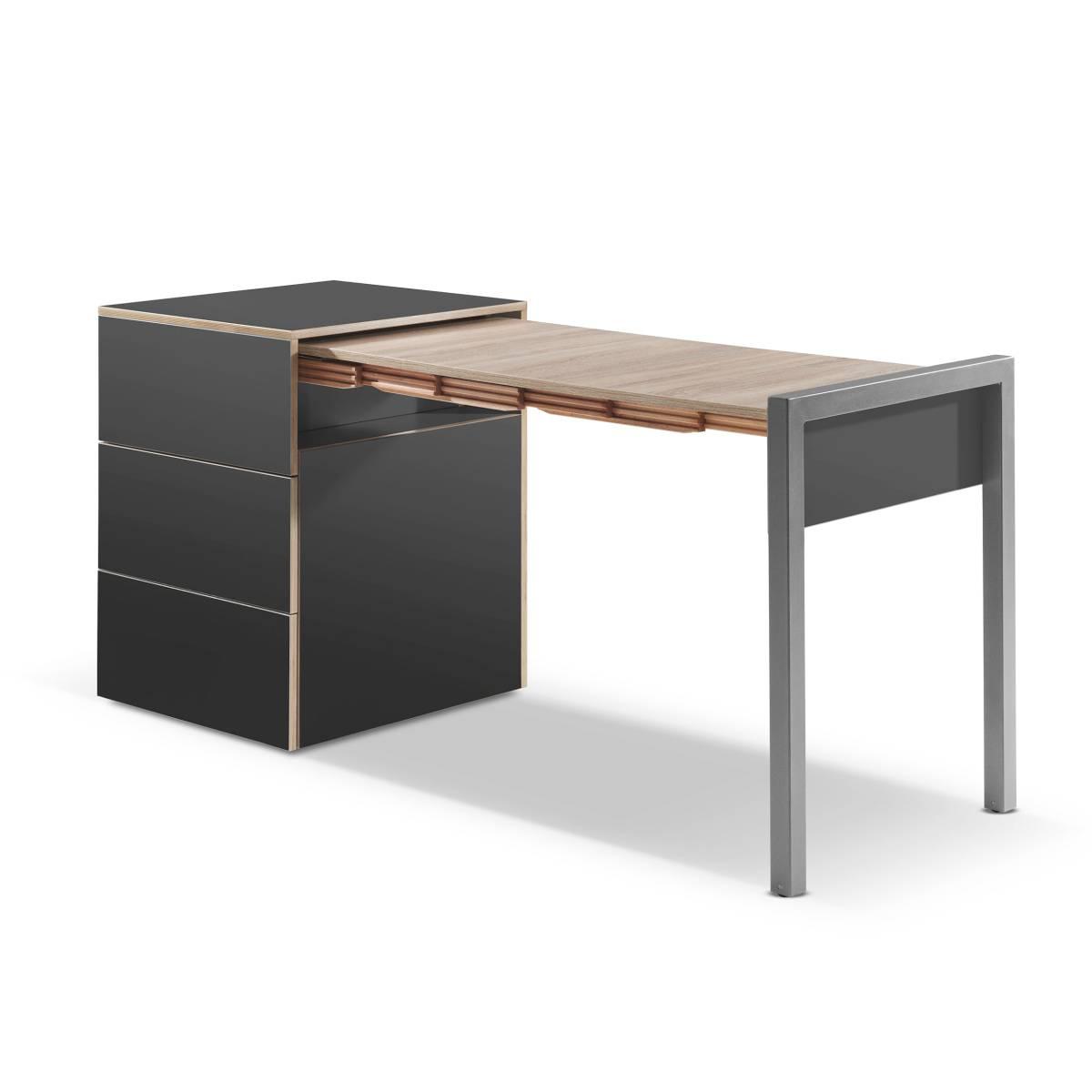ALWIN ausziehbarer Tisch anthrazit, Platte Eiche Vintage, Tisch nach rechts