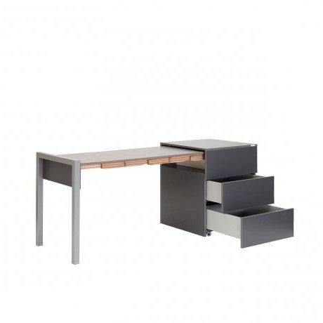 ALWIN ausziehbarer Tisch anthrazit, Tischplatte Orfeo mit offenen Schubläden