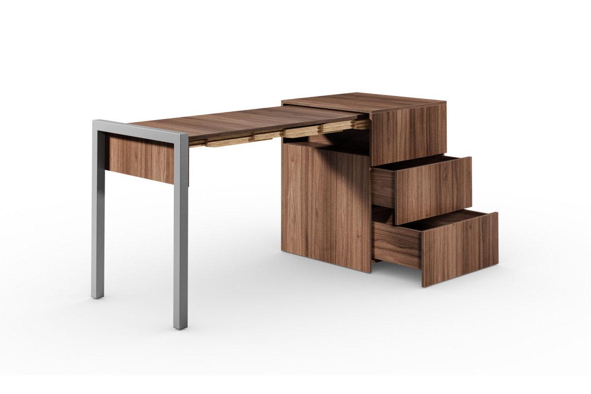 ALWIN ausziehbarer Tisch Nussbaum mit Schubladen, Platte links