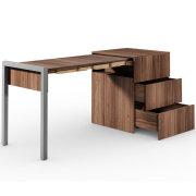 ALWIN ausziehbarer Schreibtisch Nussbaum mit Schubladen, Auszug links