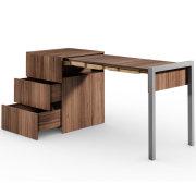 ALWIN ausziehbarer Schreibtisch Nussbaum mit Schubladen, Auszug rechts
