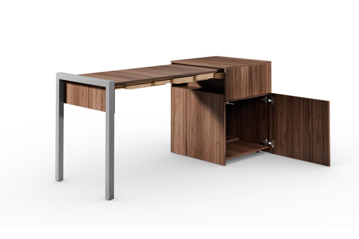ALWIN ausziehbarer Tisch Nussbaum mit Tür, Platte links