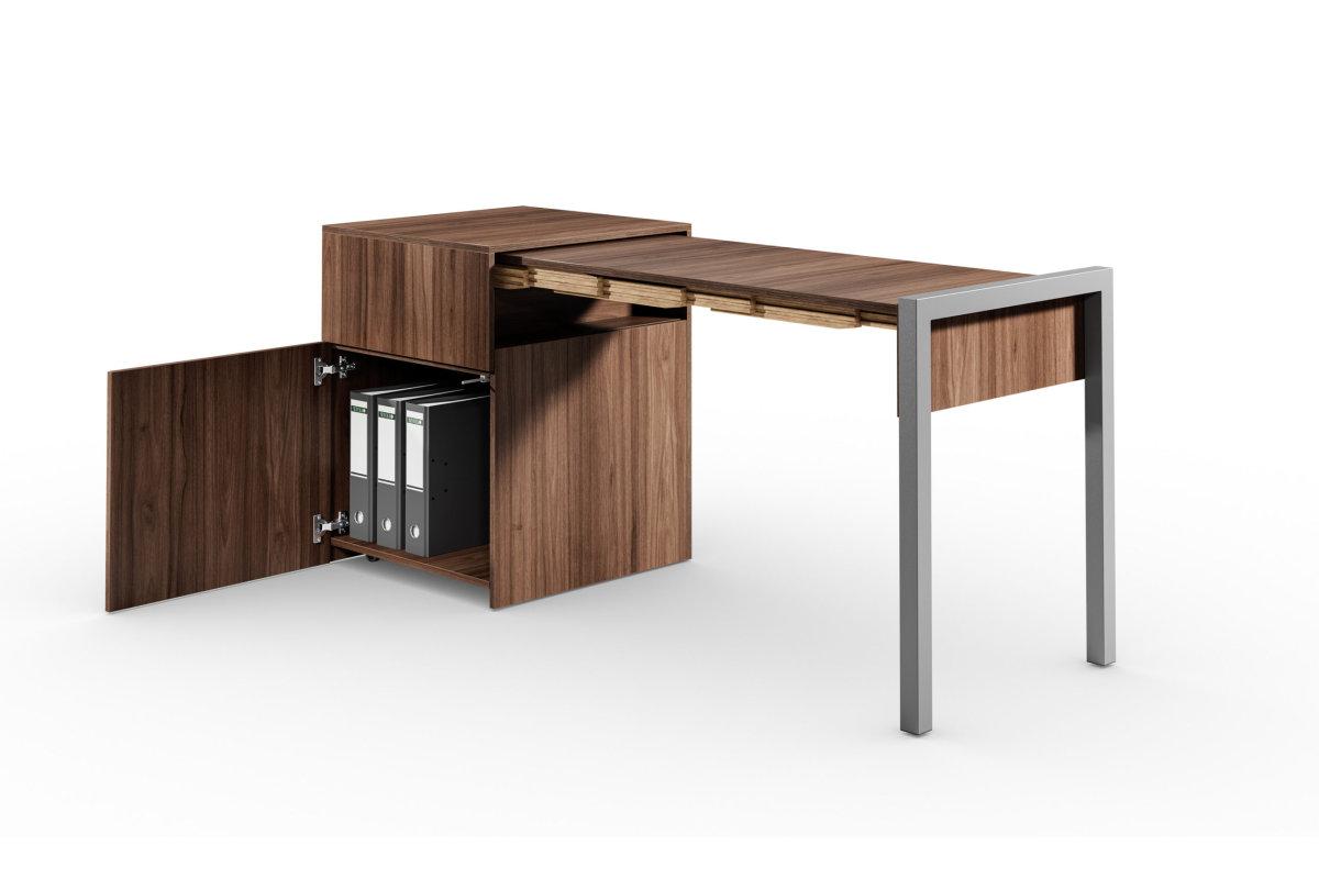 ALWIN ausziehbarer Tisch Nussbaum mit Tür, Platte rechts