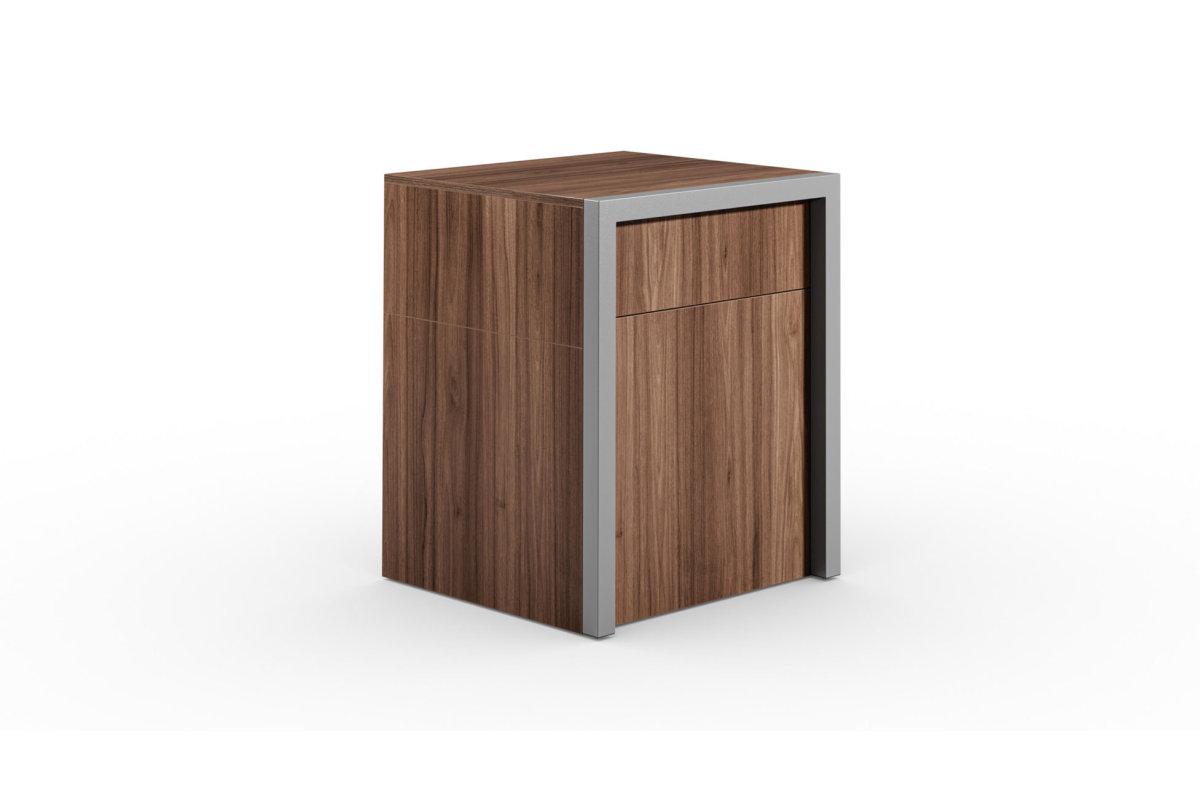 ALWIN ausziehbarer Tisch Nussbaum mit Tür, geschlossen