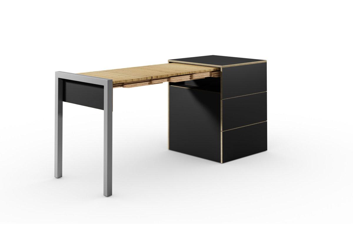 ALWIN ausziehbarer Tisch schwarz matt mit Schubladen, Tisch nach links