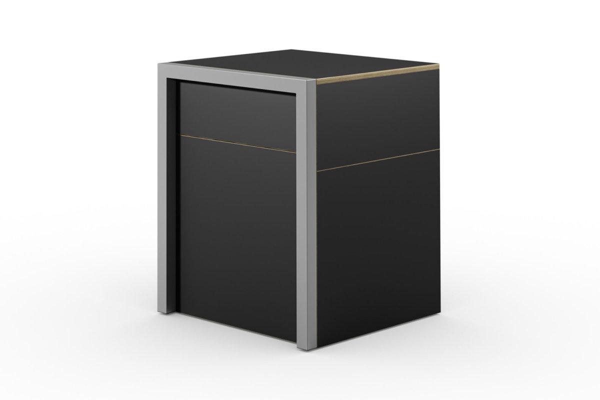 ALWIN ausziehbarer Tisch schwarz matt mit Schubladen, geschlossen