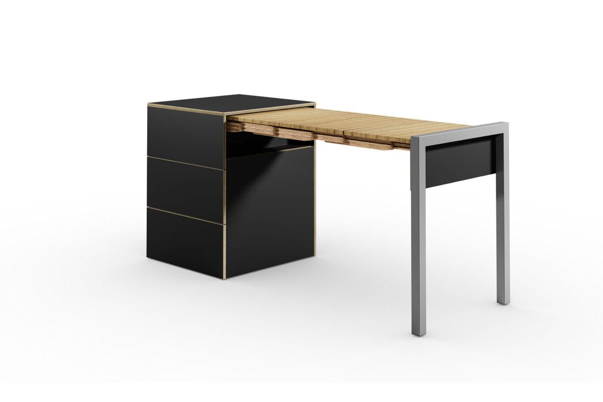 ALWIN ausziehbarer Tisch schwarz matt mit Schubladen, Tisch nach rechts