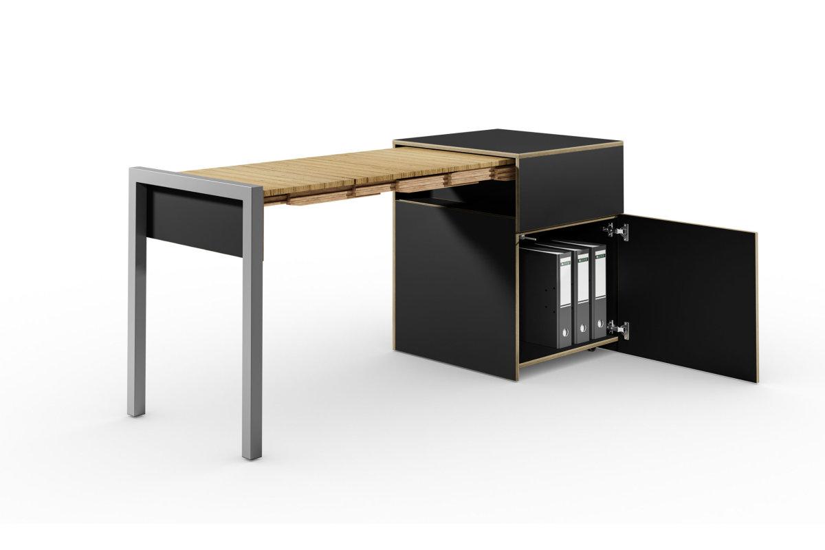 ALWIN ausziehbarer Tisch schwarz matt, mit Tür, Tisch links