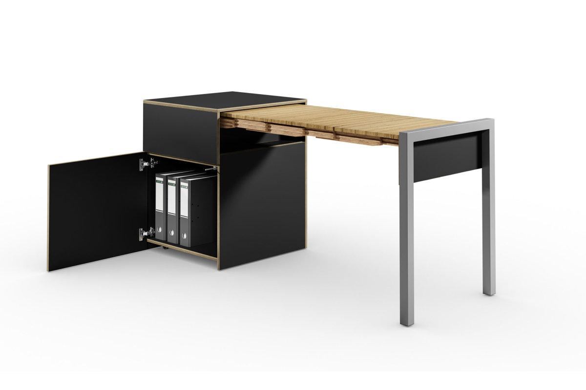 ALWIN ausziehbarer Tisch schwarz matt, mit Tür, Tisch rechts