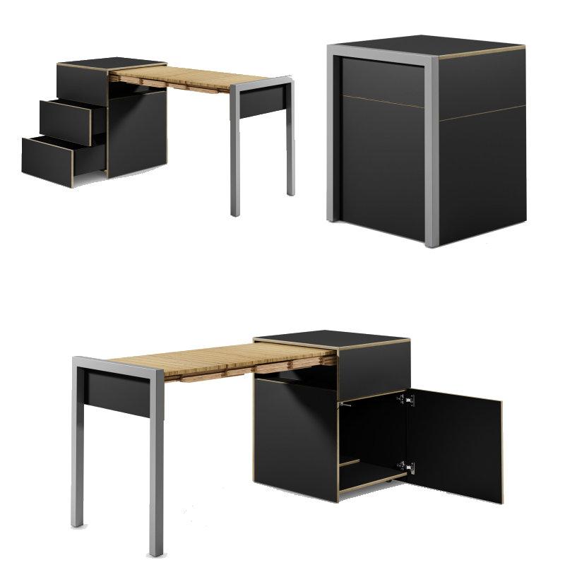 ALWIN ausziehbarer Tisch schwarz matt