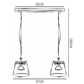 Maße von GIGANT Pendelleuchte 2er Klarglas