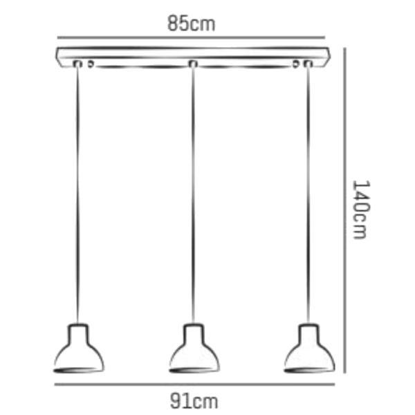 Bell Pendelleuchte Größe S, 3 Schirme mit Schiene