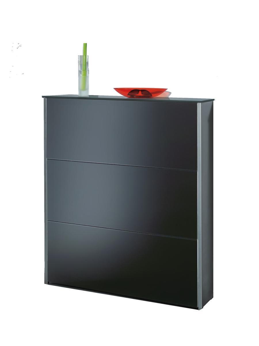 ATLANTIC Schuhschrank 100 cm Edelstahl / Glas anthrazit satinato