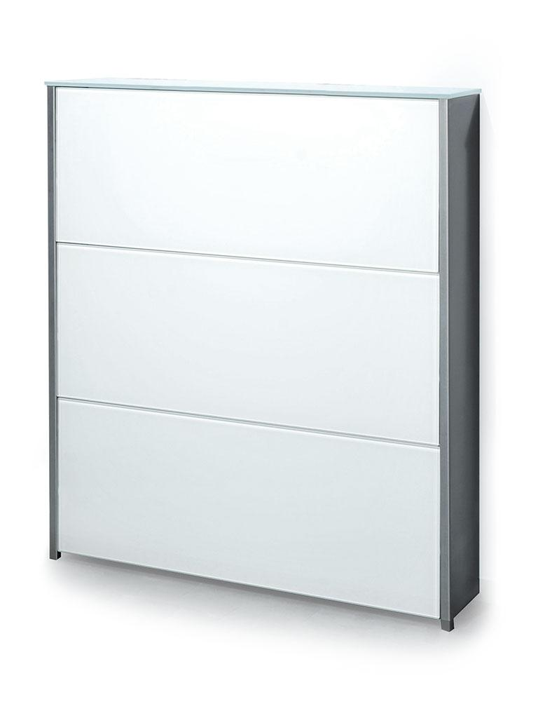 ATLANTIC Schuhschrank 100 cm Edelstahl / Glas ultrawhite