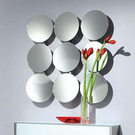 SOLAR 1 Wandspiegel verchromt mit 9 verstellbaren Spiegeln