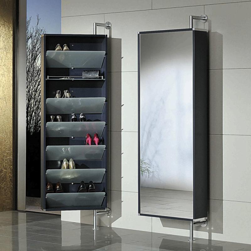 YALOU Schuhschrank anthrazit, innen mit 6 Schuhablagen und 1 Regalbrett, aussen mit Spiegel