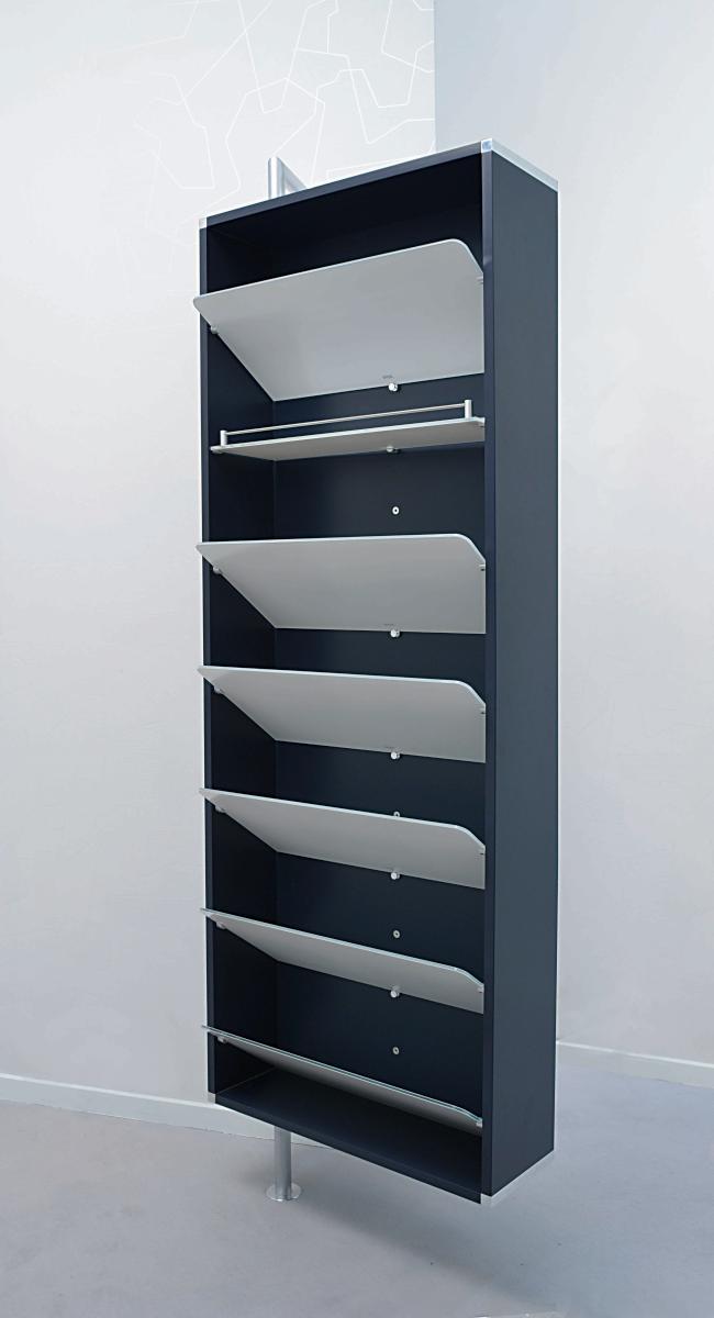YALOU Schuhschrank anthrazit, mit 6 Schuhböden und 1 Regalboden aus Glas ultrawhite
