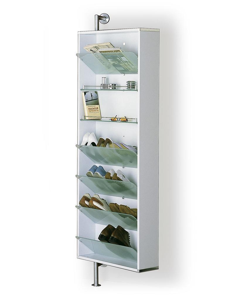 YALOU Schuhschrank weiß mit 5 Schuhablagen und 2 Regalbrettern aus Glas, ultrawhite