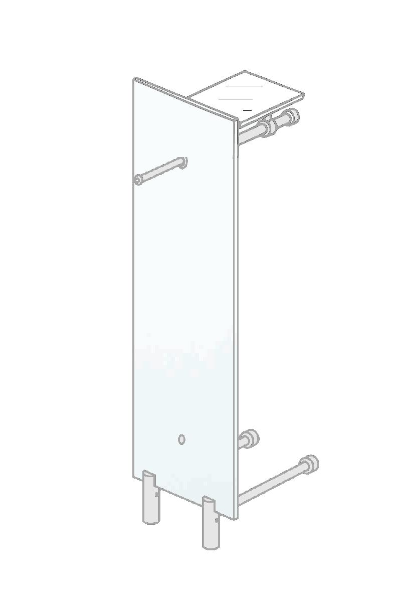 PACIFIC 503 Standgarderobe ultrawhite mit Hutablage Klarglas ultraclear