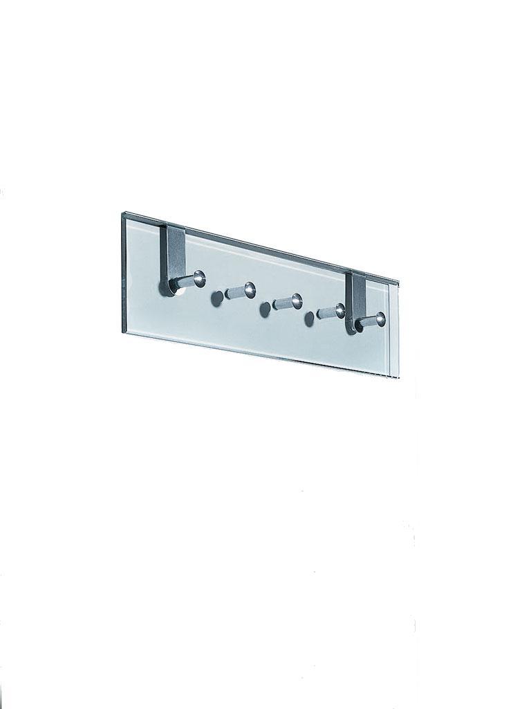ATLAS 5 Türhänge- und Wandgarderobe Edelstahl geschliffen/ Glas klar