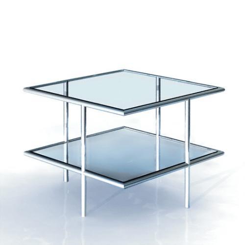 UFO 64 Couchtisch, Edelstahl geschliffen, Glas klar