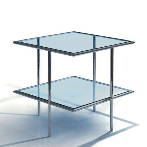 UFO 66 Beistelltisch quadratisch, Edelstahl geschliffen, Glas klar