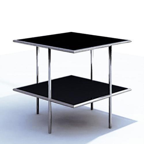 UFO 66 Beistelltisch quadratisch, Edelstahl geschliffen, Glas schwarz satinato