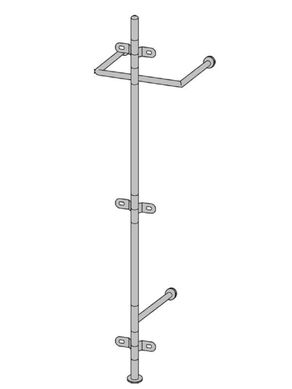 ALBATROS 1 Wandgarderobe, das Gestellt mit doppelter Garderobenstange