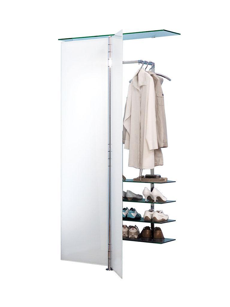 ALBATROS 7 Garderobe / Schuhschrank ultrawhite mit 2 zusäztlichen Glasböden (insgesamt 4)