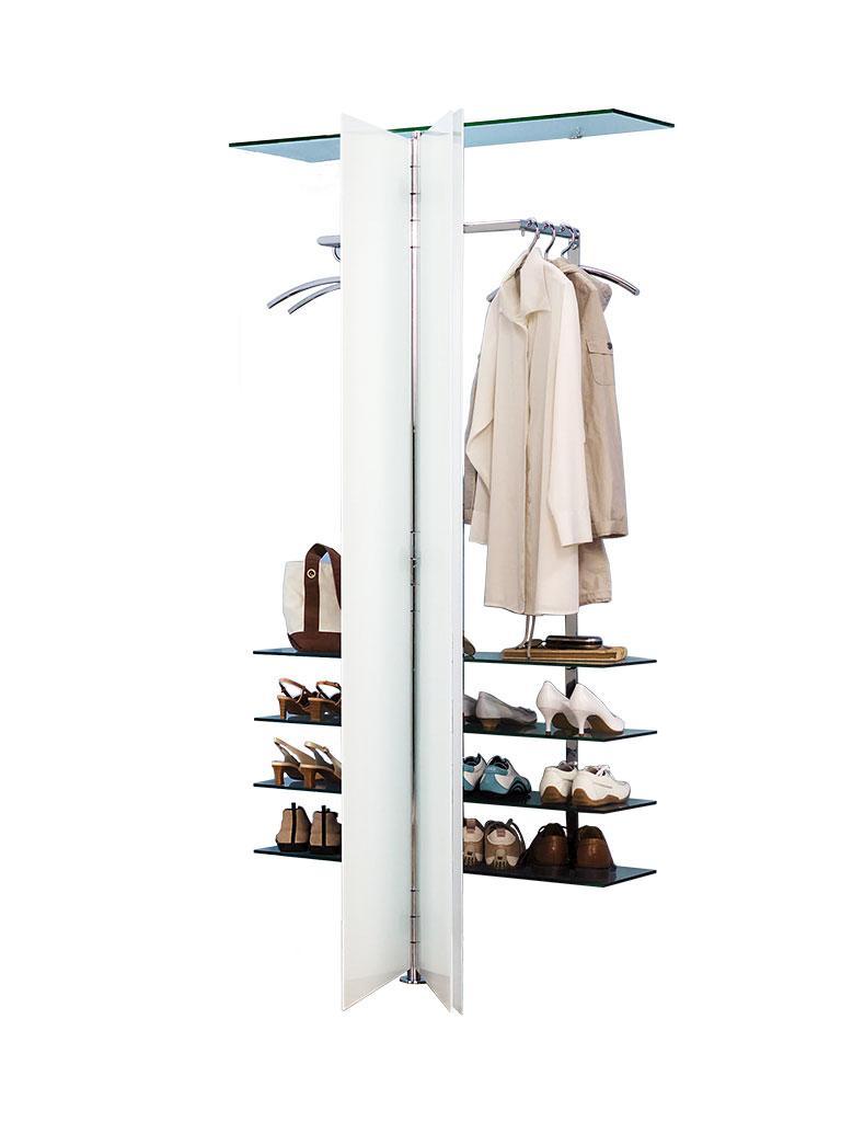 ALBATROS 7 Garderobe / Schuhschrank mit geöffneten Türen und zusätzlichen Glasböden