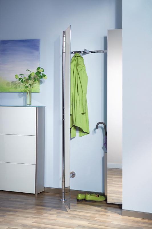 2x ALBA 2 Wandgarderobe mit Vollspiegel-Tür, rechts mit Schirmständer TUBE