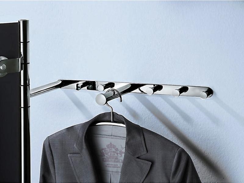 ALBA 2 Wandgarderobe Garderobenstange und Garderobenhaken in silber (nicht hochglanzverchromt)