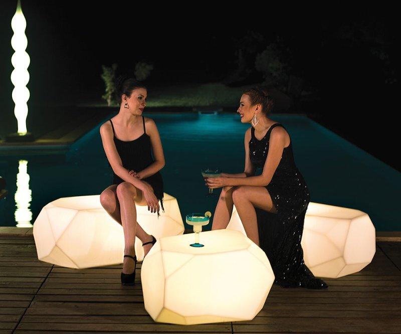 SERENO Sitzkristall Hocker und Bank, mit LED Beleuchtung in weiß und Akku