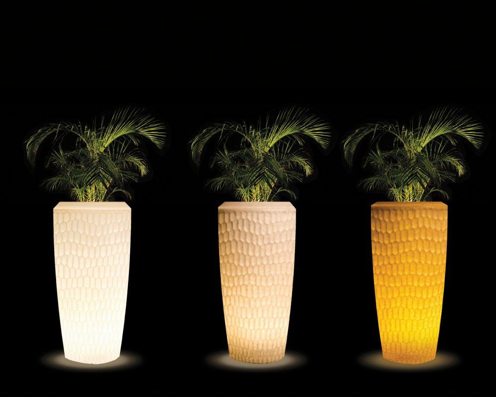 SERENO Pflanzgefäß Slim beleuchtet, Gehäuse weiß oder Granit-Optik