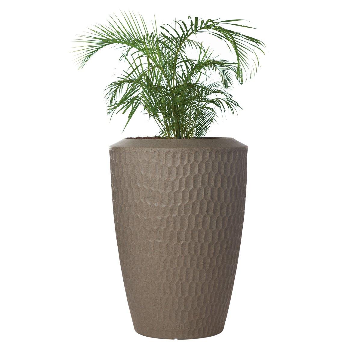 SERENO Pflanzgefäß beleuchtet in Granit Braun und bepflanzt