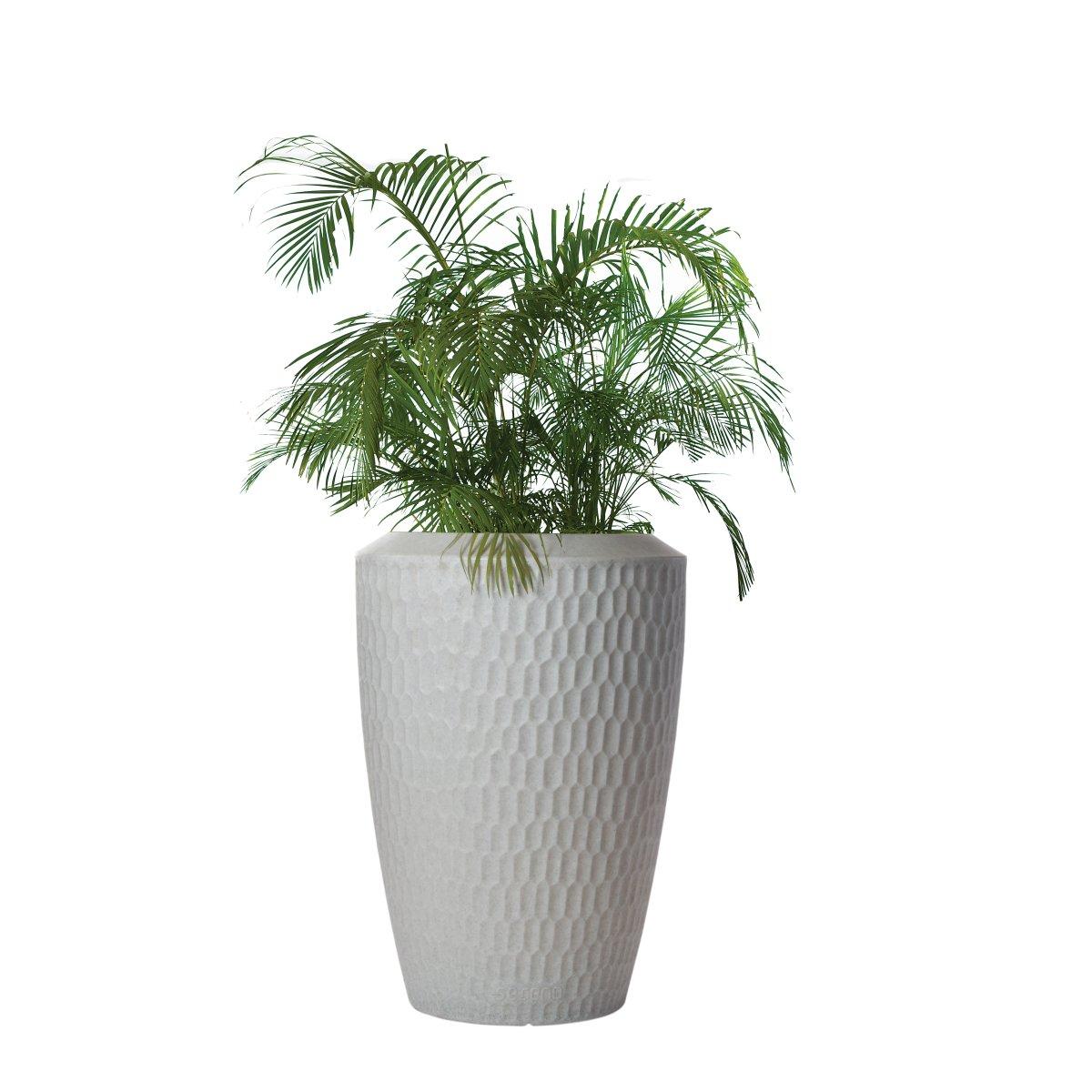SERENO Pflanzgefäß beleuchtet granit weiß mit Bepflanzung